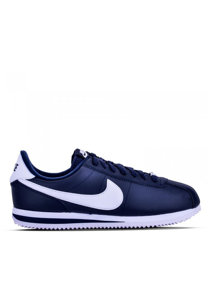 cortez de nike en cuir bleu ref 819719 410 running homme. Black Bedroom Furniture Sets. Home Design Ideas
