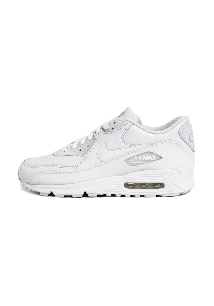 nike air max 90 blanche cuir ref 302519 113 hommes basket. Black Bedroom Furniture Sets. Home Design Ideas