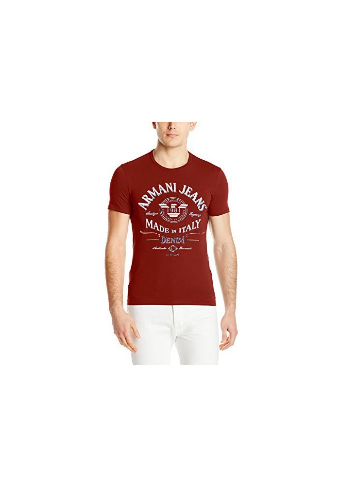 Armani Jeans Hommes T-Shirt col Rond Extra Slim Fit Foil Print