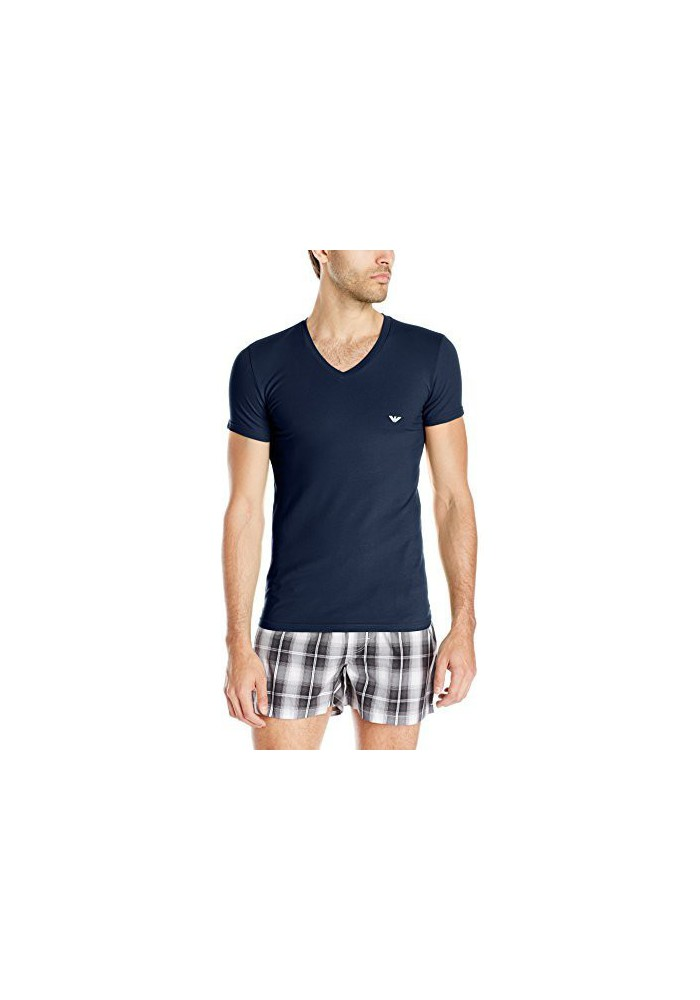 Emporio Armani Hommes T-Shirt col en V Stretch Coton Eagle Logo