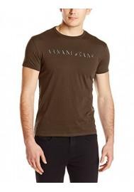 T-Shirt col Rond Armani pour Hommes Slim Fit Embossed Foil Print