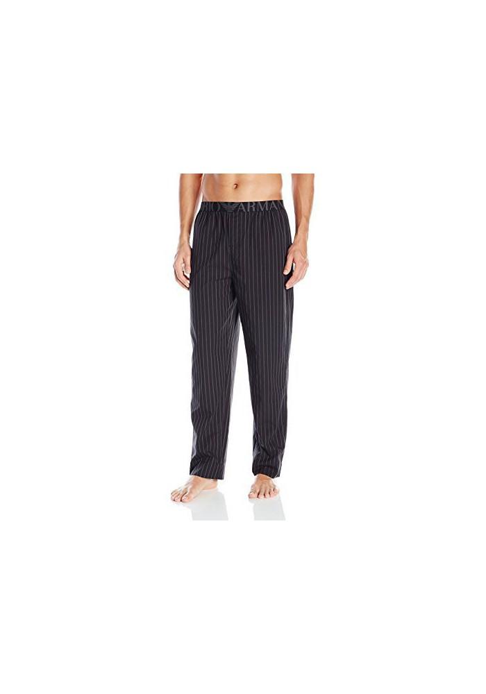 Emporio Armani Hommes Yarn-Dyed Woven-Coton Lounge Pantalon