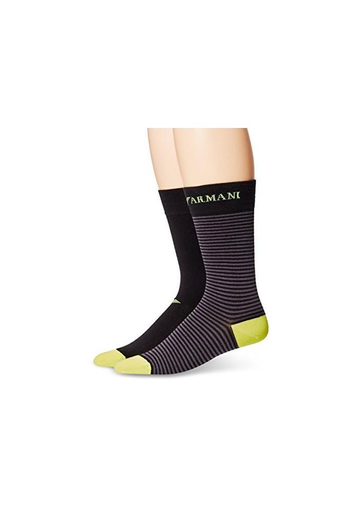 Emporio Armani Hommes ed Basic Stretch Coton Pack de 2 paires de chaussettes
