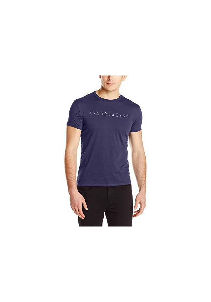 Armani Jeans Hommes Slim Fit Embossed Foil Print T-Shirt col Rond