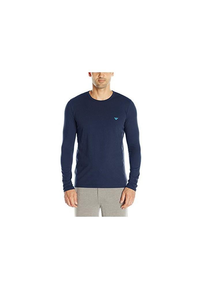 Emporio Armani Hommes Hidden Print Manches Longues T-Shirt col Rond