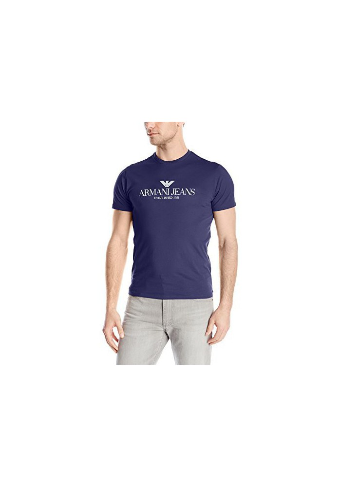 Armani Jeans Hommes Regular Fit Logo Col Rond T-Shirt