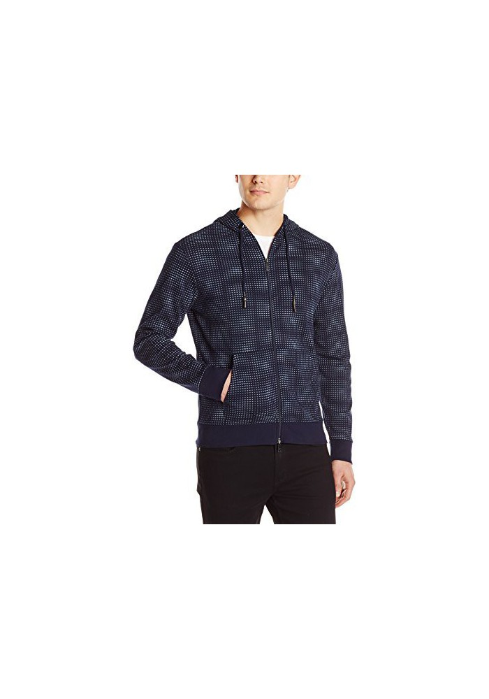 Armani Jeans Hommes Regular Fit Printed Interlock Zip Up Sweat à capuche