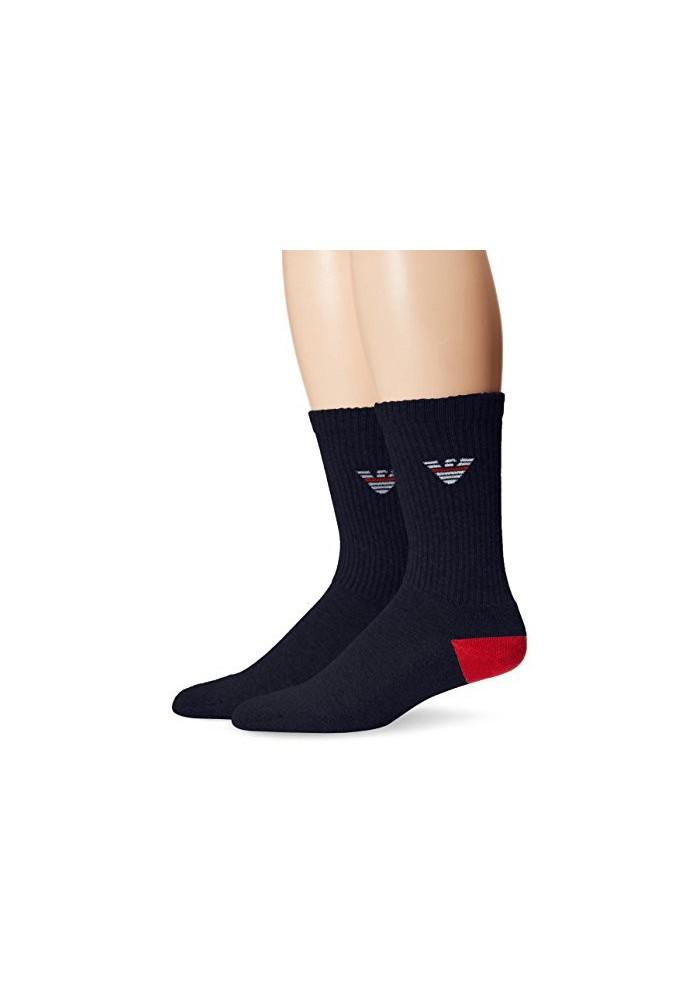 Emporio Armani Hommes Fancy Sponge Coton Pack de 2 paires de chaussettes