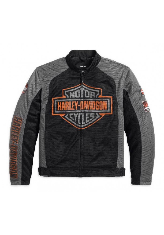 blouson harley davidson homme bar shield logo coton noir 98233 13vm. Black Bedroom Furniture Sets. Home Design Ideas