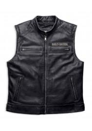 Blouson Harley Davidson / Homme Brodures Passing Link en Cuir Gilet sans manches Charbon 98109-16VM