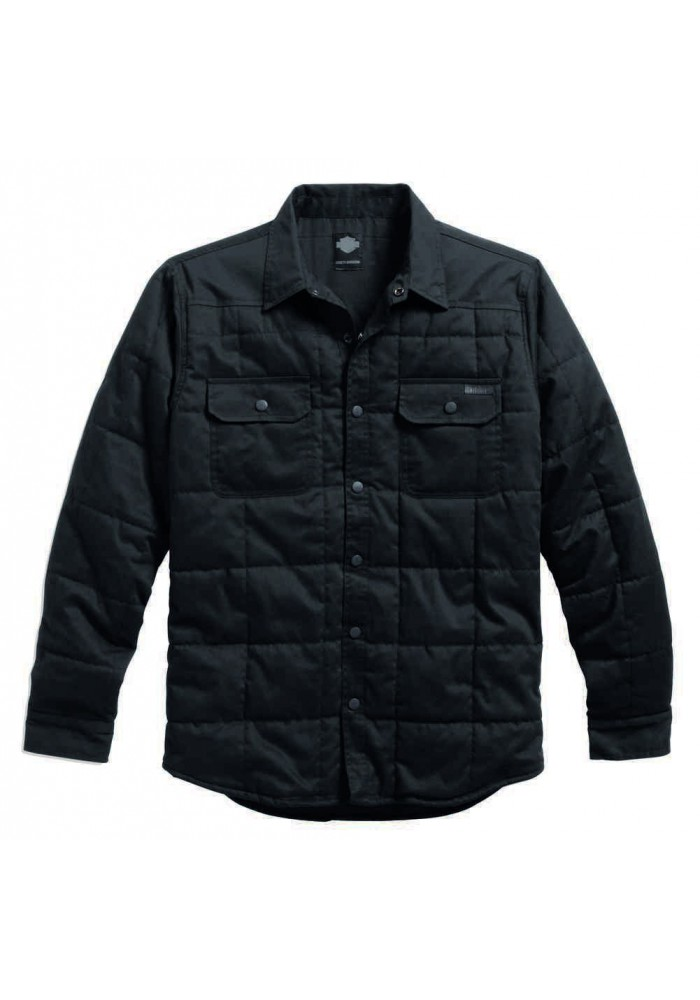 Blouson Harley Davidson / Homme Quilted Shirt Cotton Twill Noir. 99025-16VM