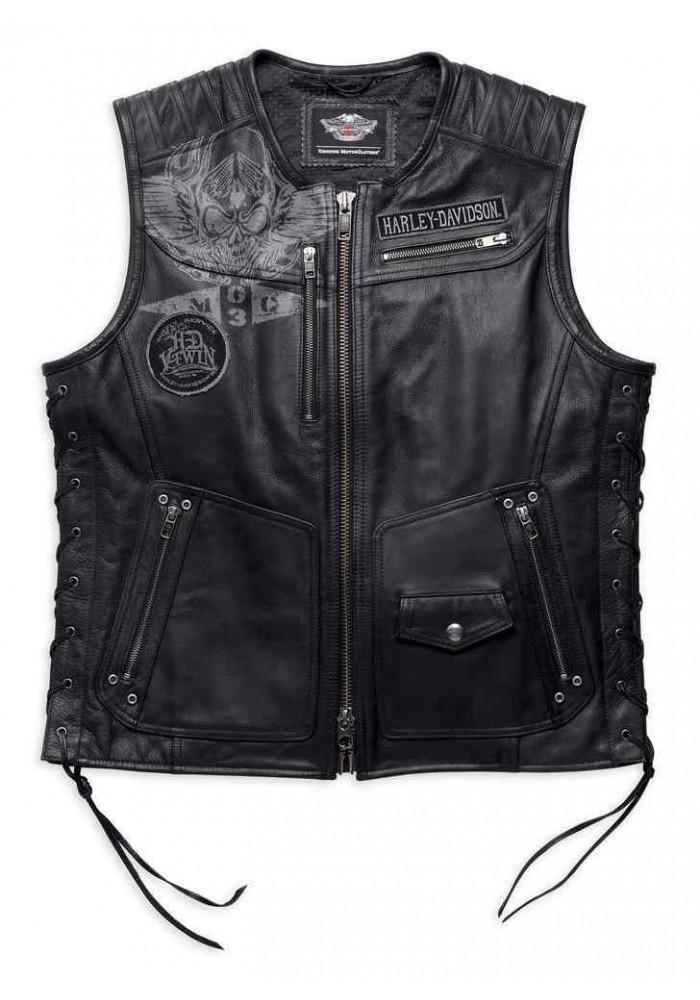 Blouson Harley Davidson Homme / Fetter Lacing en Cuir Midweight Gilet sans manches Noir 97127-16VM