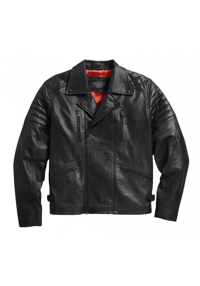 Blouson Harley-Davidson / Homme Lambskin Lightweight Biker en Cuir Noir 97077-15VM