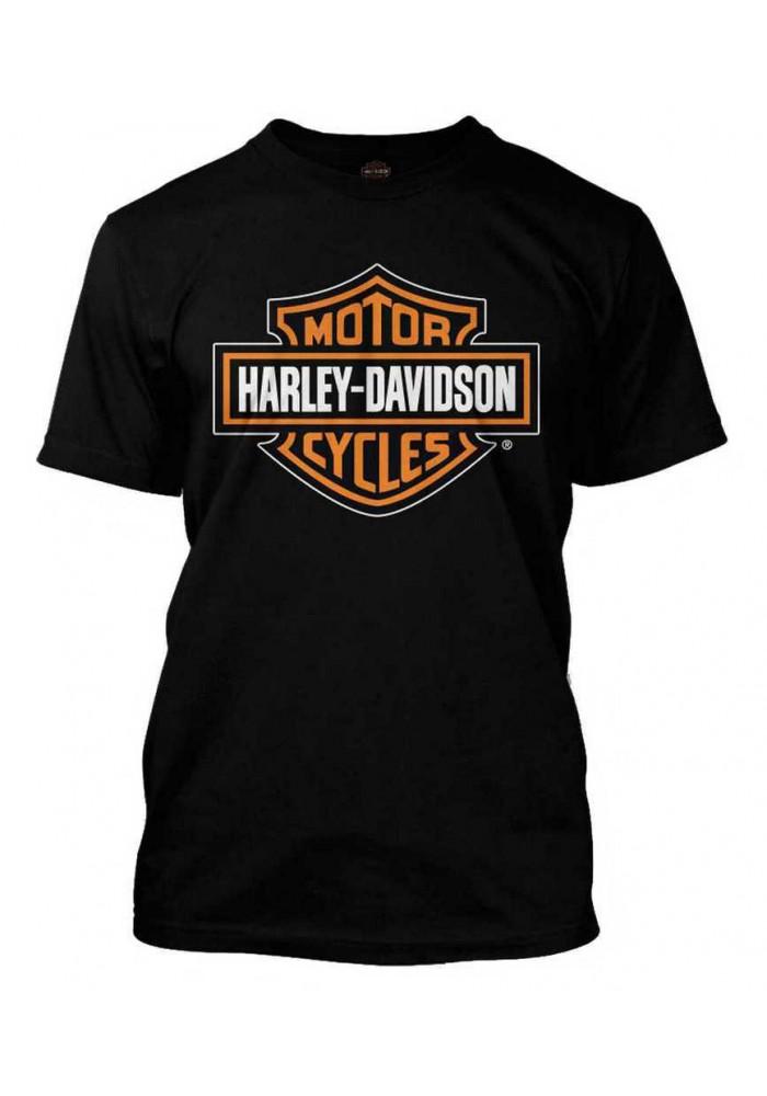 Harley Davidson Homme Orange Bar & Shield Tee Shirt Noir 30290591