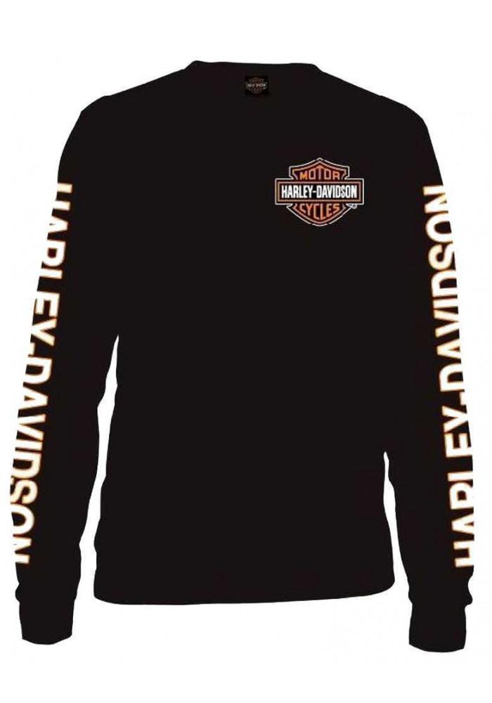 Harley Davidson Homme Manches Longues Orange Bar & Shield Chemise Noir 30291744