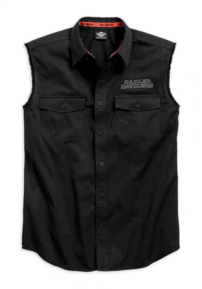 Harley Davidson Homme Pinstripe Flames Sans Manches Blowout, Noir 99051-16VM