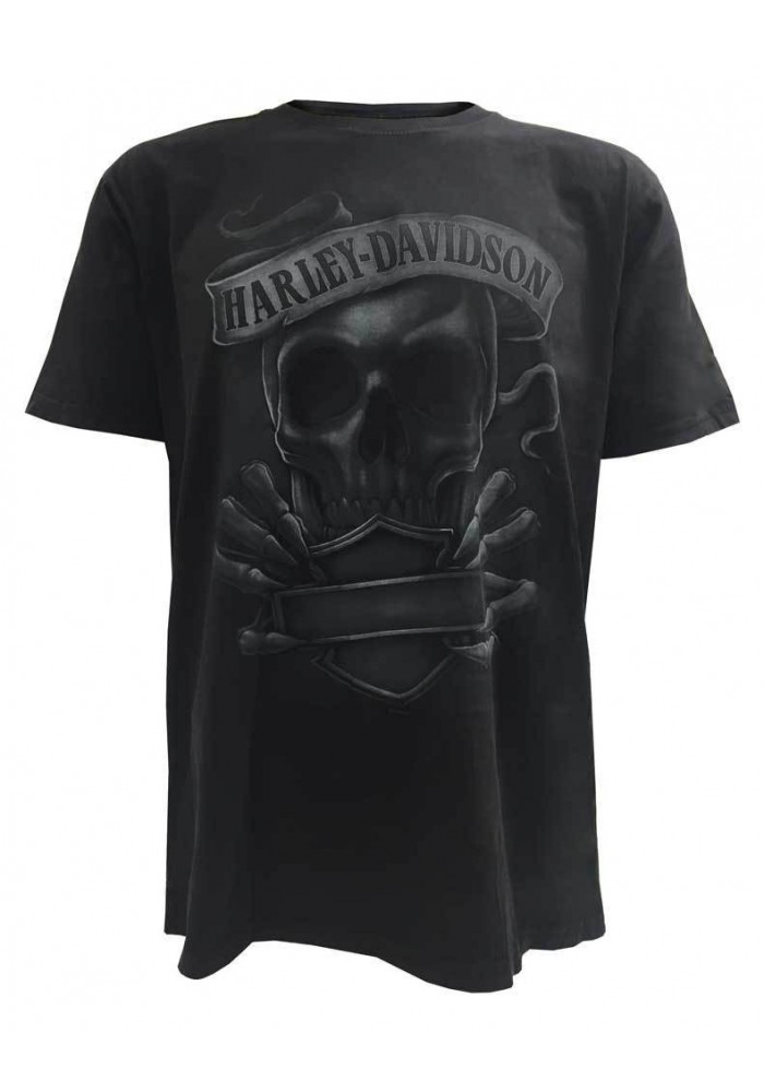 Harley Davidson Homme Edgy Bar & Shield Skull Tee Shirt Manches courtes, Washed Noir