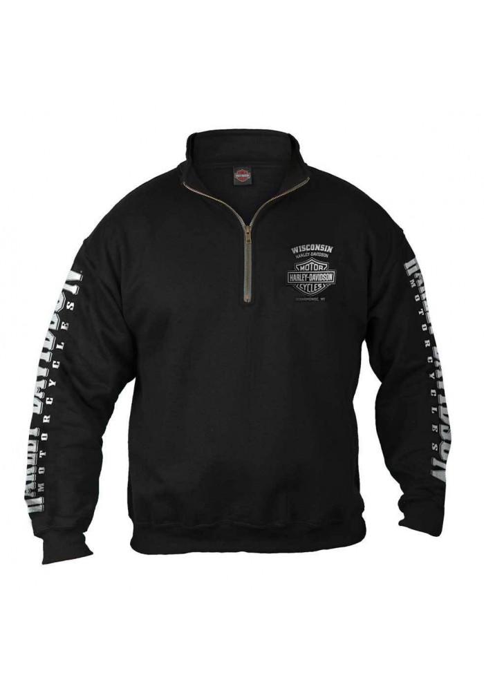 Harley Davidson Homme 1/4 Zip Cadet Pullover Sweatshirt, Noir