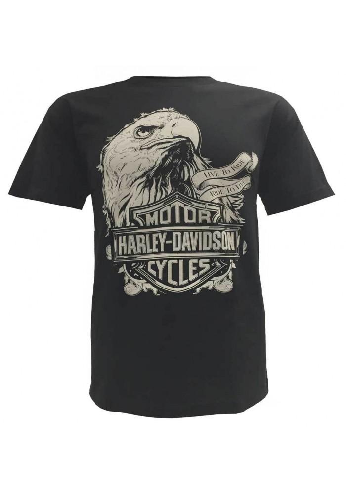 Harley Davidson Homme Prestige Eagle Tee Shirt Manches Courtes Noir 30298299