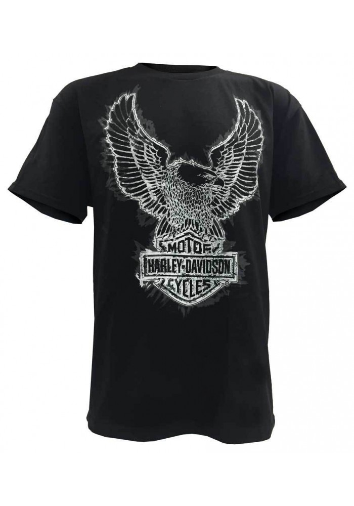 Harley Davidson Homme Distressed Blazing Eagle Tee Shirt Manches courtes, Noir