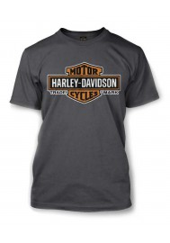 Harley Davidson Homme Elongated Orange Bar & Shield Tee Shirt Couleur Charbon 30291961