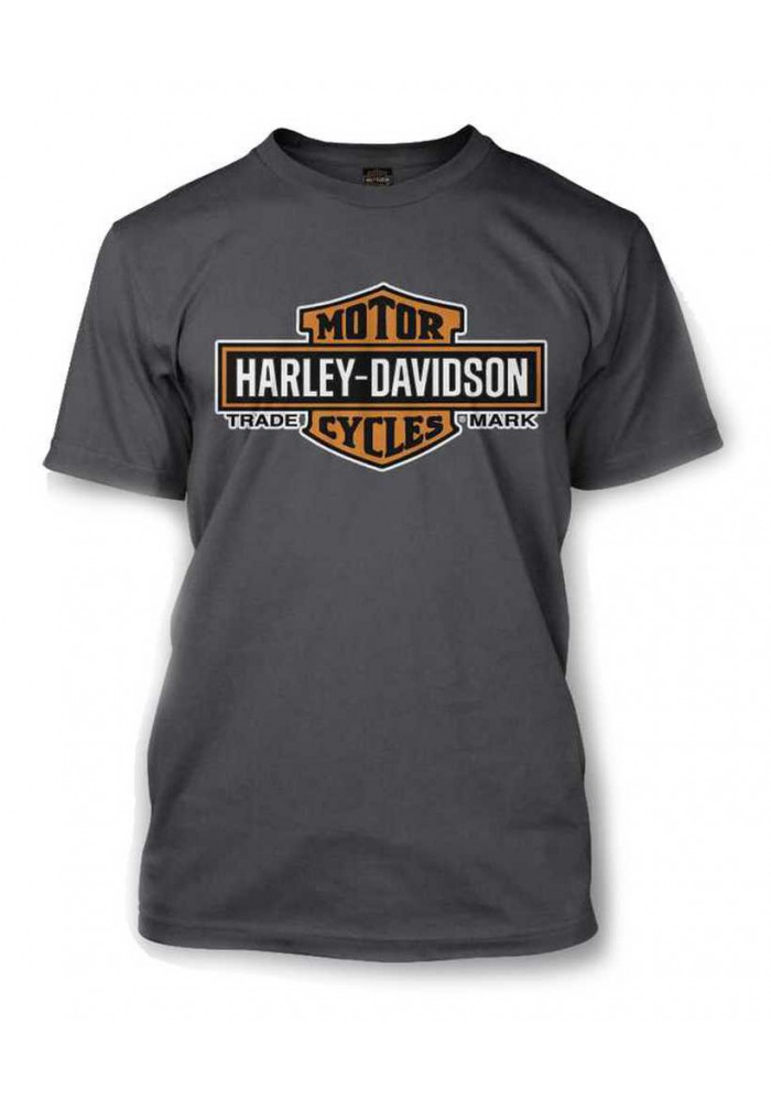 Harley Davidson Homme Elongated Orange Bar & Shield Tee Shirt Couleur Charbon 30291961