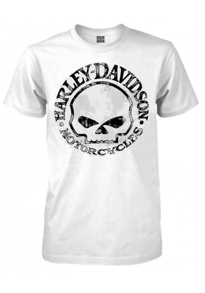Harley Davidson Homme Tee Shirt, Willie G Skull Manches Courtes, Blanc 30296643