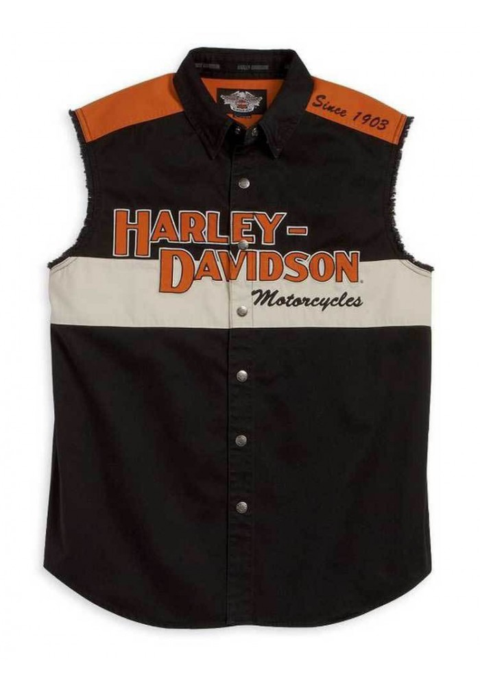Harley Davidson Homme Prestige Blowout Button Up Muscle  Chemise 99016-08VM