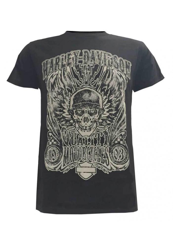 Harley Davidson Homme Overload Skull Distressed Chemise Noir Manches Courtes 30298305