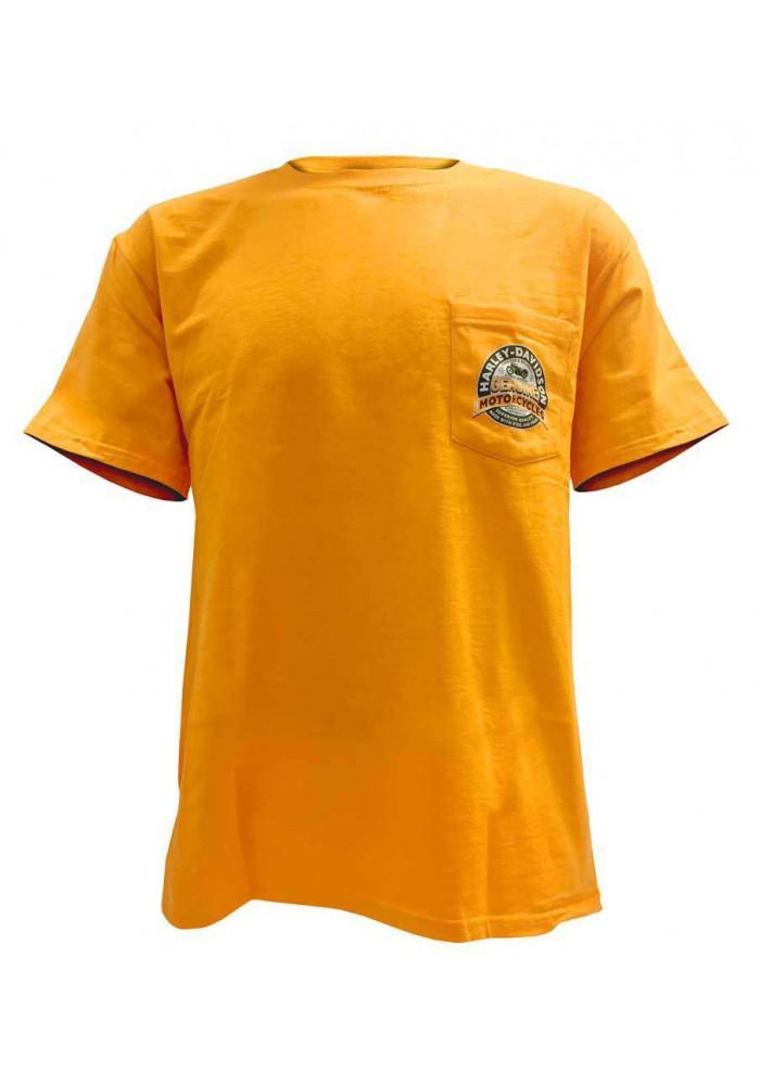 Harley Davidson Homme Distressed Genuine Tee Shirt Graphique Shirt, Gold