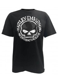 Harley Davidson Homme Tee Shirt, Hand Made Willie G Skull Distressed 30294030