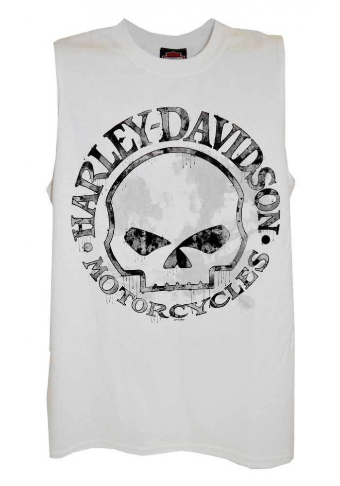 Harley Davidson Homme Willie G Skull Sable Tank Top, Blanc Muscle Tee Shirt 30296645