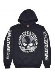 Harley Davidson Homme Sweatshirt Willie G Skull H-D Pullover Noir 30296648