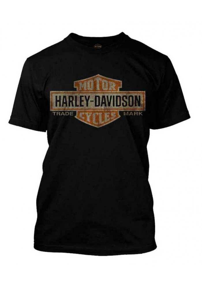 Harley Davidson Homme Distressed Elongated Bar & Shield Tee Shirt Noir 30296553