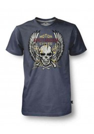 Harley Davidson Homme Tee Shirt Black Label, Bright Winged Flaming Skull, Charcoal