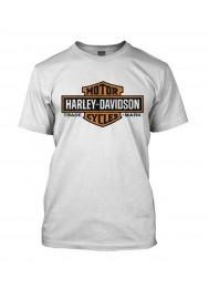 Harley Davidson Homme Orange Elongated Bar & Shield Tee Shirt Blanc 30291967