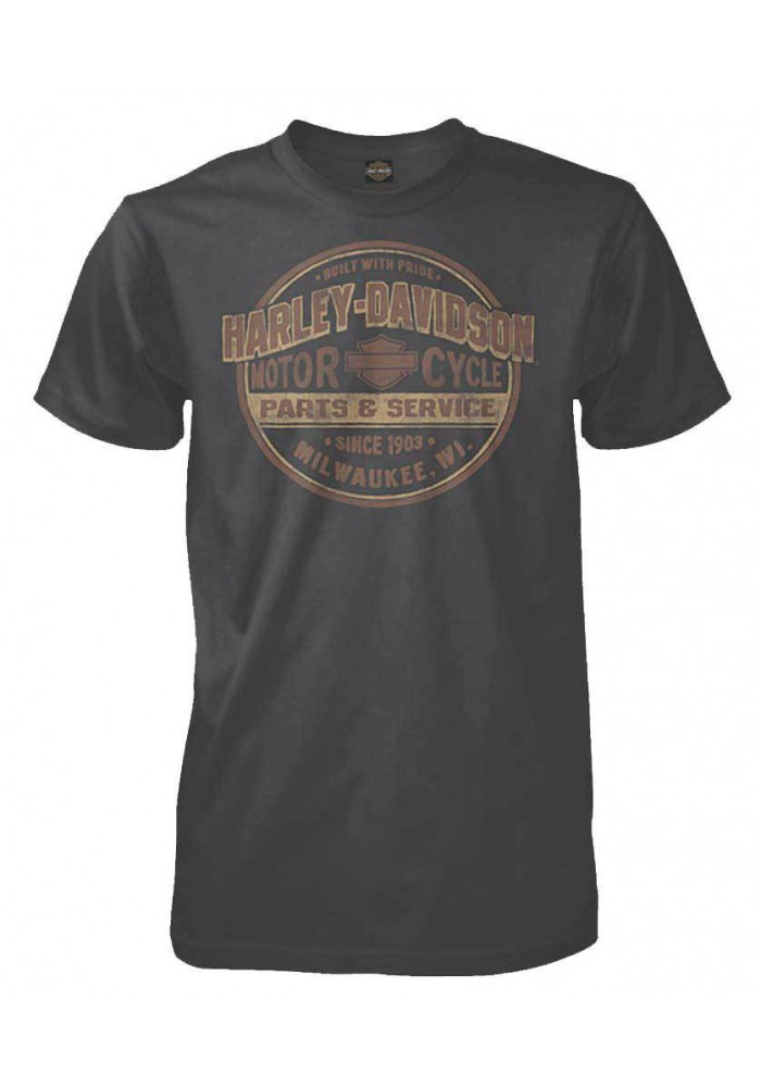 Harley Davidson Homme Tee Shirt Manches courtes, Built With Pride Gris