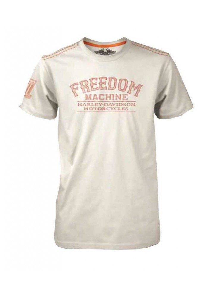 Harley Davidson Homme Tee Shirt Black Label, Freedom Machine, Blanc 30293302