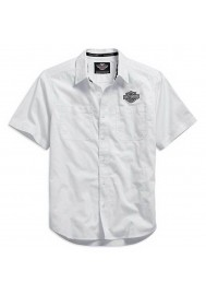Harley Davidson Homme Logo Manches Courtes Chemise Blanche. 99014-15VM