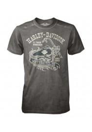 Harley Davidson Homme Tee Shirt Black Label, V-twin Manches Courtes , Gris 30293148