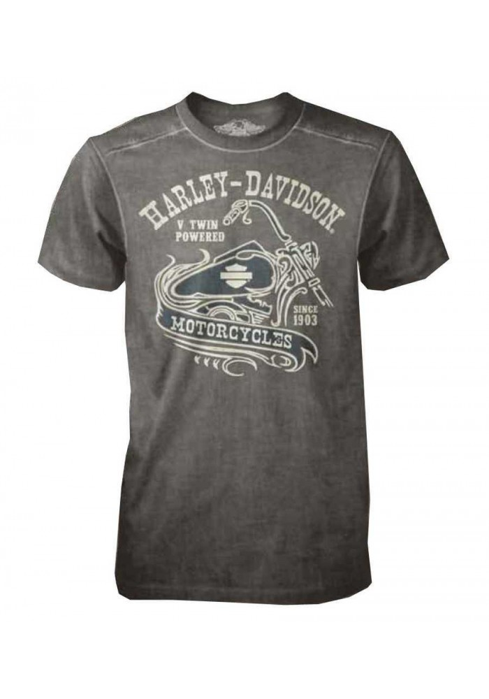 Harley Davidson Homme Tee Shirt Black Label, V-twin Manches Courtes , Gris 30293148