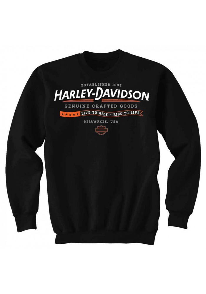 Harley Davidson Homme H-D Established Sweatshirt Col Rond Polaire, Noir