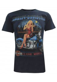 Harley Davidson Homme Tee Shirt Manches courtes, Paint The Town Pin-Up Lady, Bleu