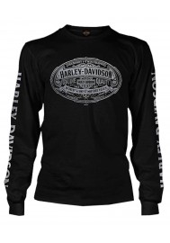 Harley Davidson Homme Embossed H-D Script Graphic Chemise Manches Longues, Noir
