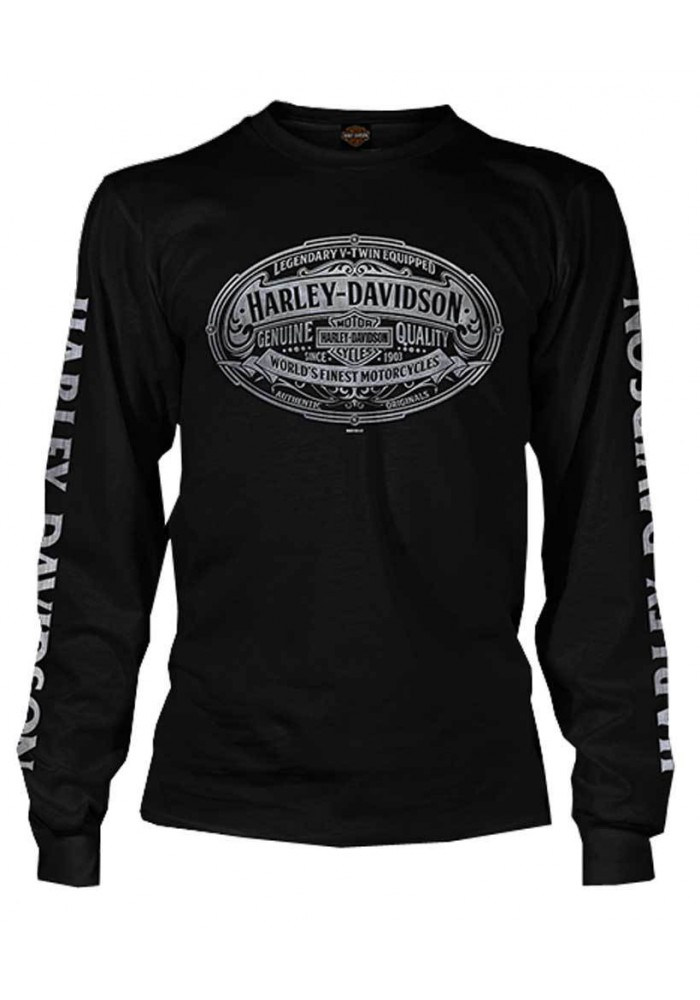Harley Davidson Homme Embossed H-D Script Graphic Chemise Manches Longues, Noir