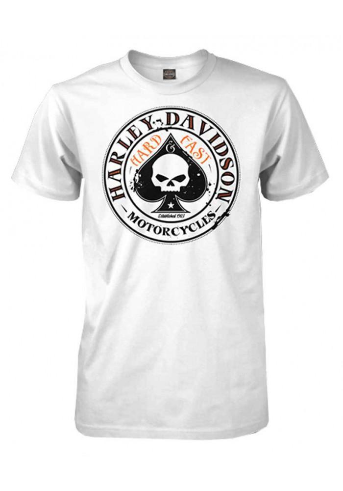 Harley Davidson Homme Spade Willie G Skull Logo Tee Shirt Manches courtes, Blanc
