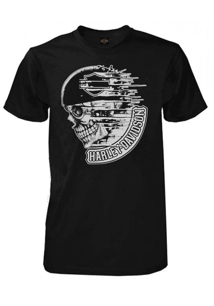 Harley Davidson Homme Tee Shirt, Distress Speed Skull Manches Courtes, Noir 30294028