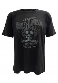 Harley Davidson Homme Commando Distressed Skull Tee Shirt Manches Courtes, Washed Noir