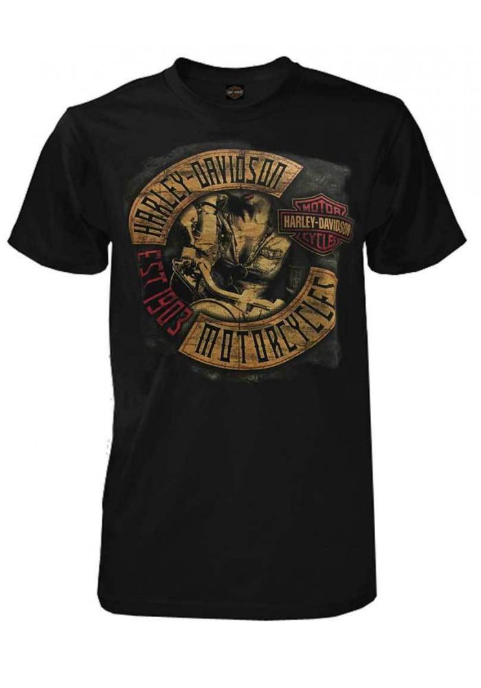 Harley Davidson Homme Concealed Vintage Biker Tee Shirt Manches courtes, Noir