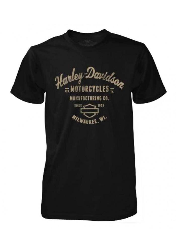 Harley Davidson Homme Tee Shirt Black Label, Manufacturing , Noir 30293554
